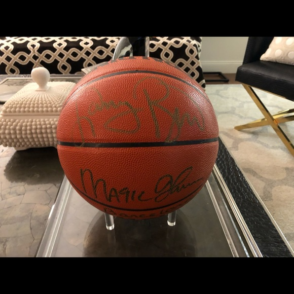 best website a168f d1d83 Larry Bird/ Magic Johnson Signed Basketball